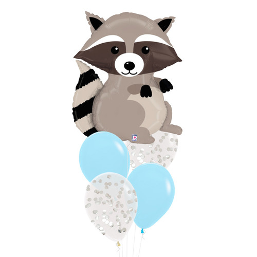 Woodland Raccoon Confetti Fun Balloons Bouquet