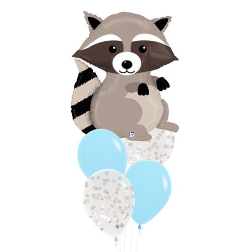 Woodland Raccoon Confetti Fun Balloons Bouquet