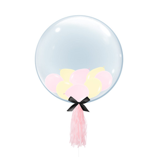 "24"" Crystal Clear Transparent Balloon - Mini Macaron Pastel Matte Latex Balloons Filled"