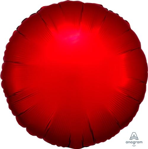 """18"""" Satin Luxe Round Foil Balloon - Sangria Red"""