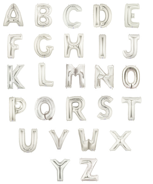 """16"""" Small Alphabet Foil Balloons (Silver) - Letter 'A' to 'Z'"""