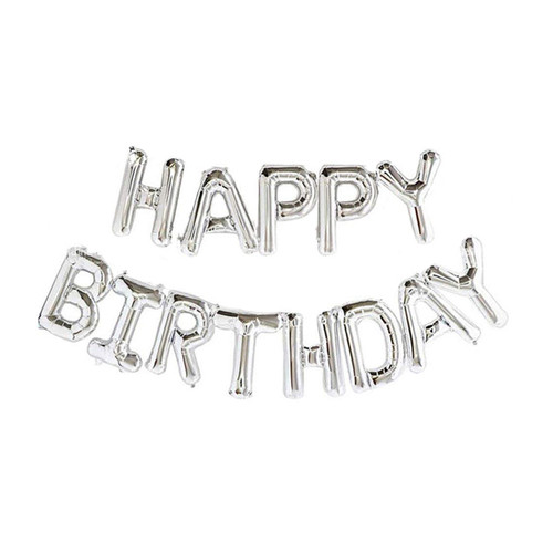 "16"" Happy Birthday Alphabet Foil Balloons Banner -Sliver"