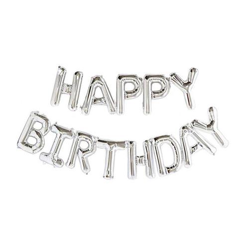 "16"" Happy Birthday Alphabet Foil Balloons Banner -Sliver"