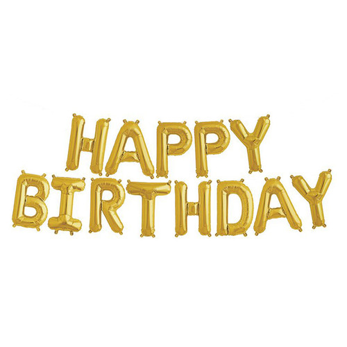 "16"" Happy Birthday Alphabet Foil Balloons Banner -Gold"