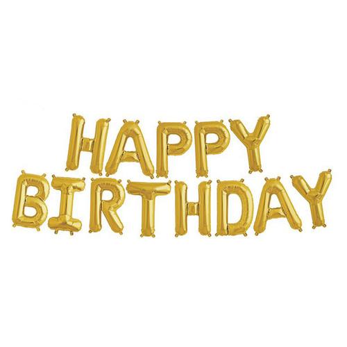 "16"" Happy Birthday Alphabet Foil Balloons Banner -Gold"