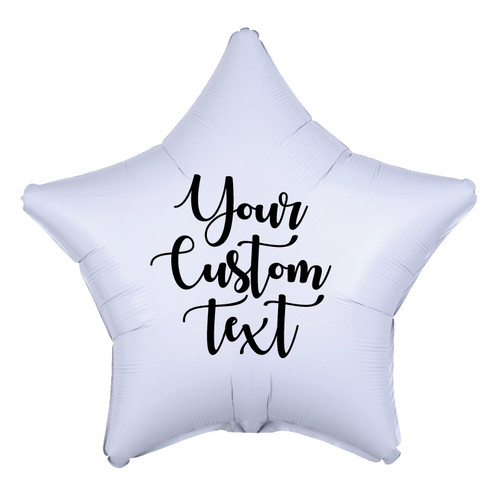 "19"" Personalised Star Foil Balloon - Metallic White"