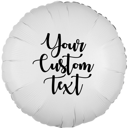"18"" Personalised Round Foil Balloon - Metallic White"