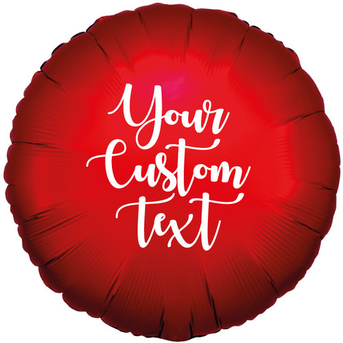 "18"" Personalised Satin Luxe Round Foil Balloon - Sangria Red"