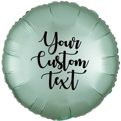 "18"" Personalised Satin Luxe Round Foil Balloon - Mint Green"