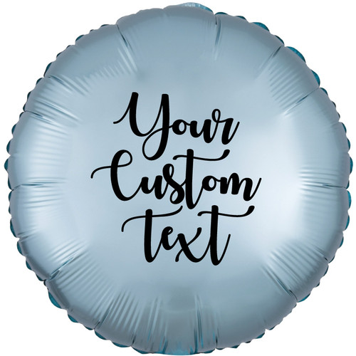 """18"""" Personalised Satin Luxe Round Foil Balloon - Pastel Blue"""