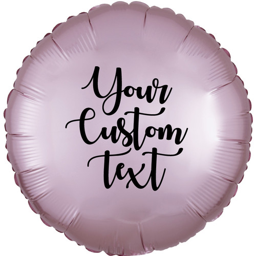 "18"" Personalised Satin Luxe Round Foil Balloon - Pastel Pink"