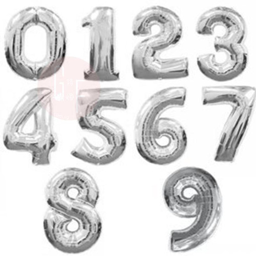 "16"" Small Number Foil Balloons (Silver) - Number '0'-'9'"