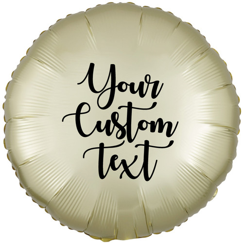 "18"" Personalised Satin Luxe Round Foil Balloon - Pastel Yellow"