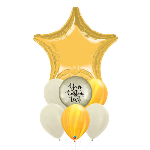 Personalised Twinkle Twinkle Little Star Balloons Bouquet - Metallic Gold