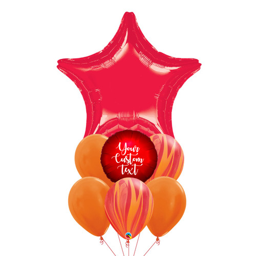 Personalised Twinkle Twinkle Little Star Balloons Bouquet - Metallic Red