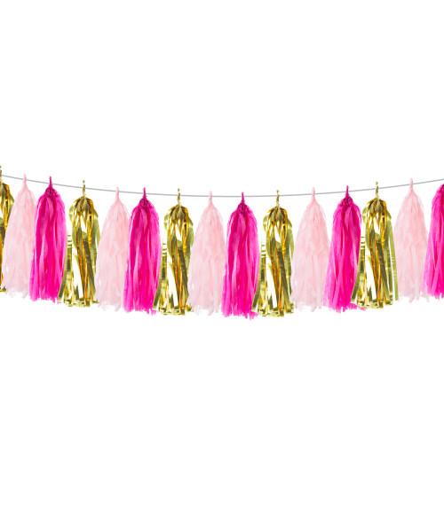 Tassels Garland DIY Kit (15 Tassels): Glamorous Pink