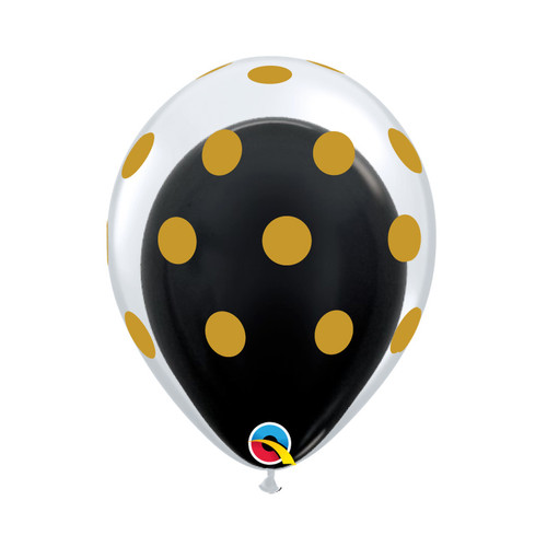 "12"" Gold Polka Dots Balloon in a Balloon - Metallic Color (21 Colors)"