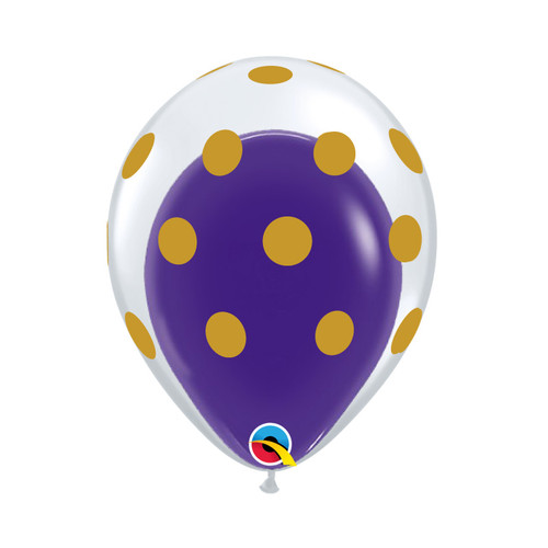 "12"" Gold Polka Dots Balloon in a Balloon - Fashion Color (25 Colors)"