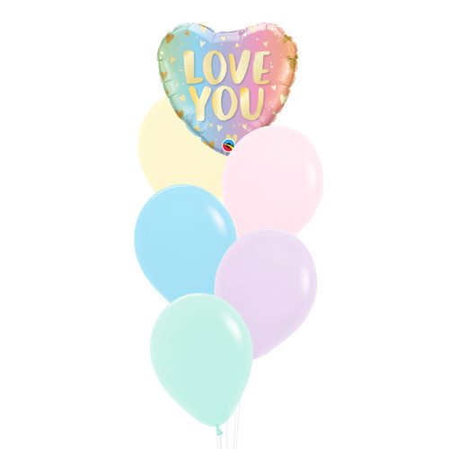 Love You Pastel Ombre Heart Balloons Bouquet