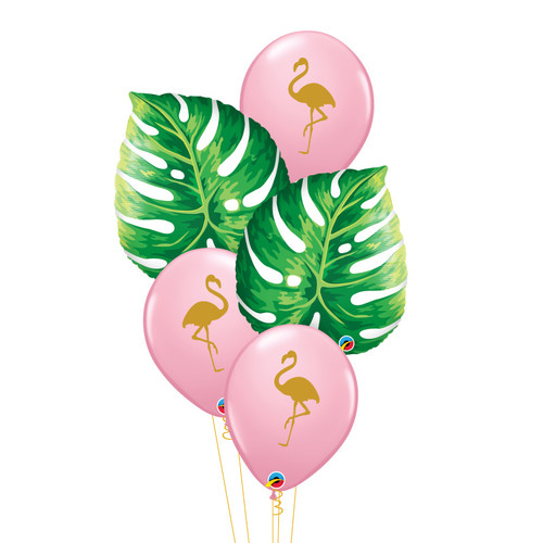 Tropical Philodendron Leaf Flamingo Balloons Bouquet