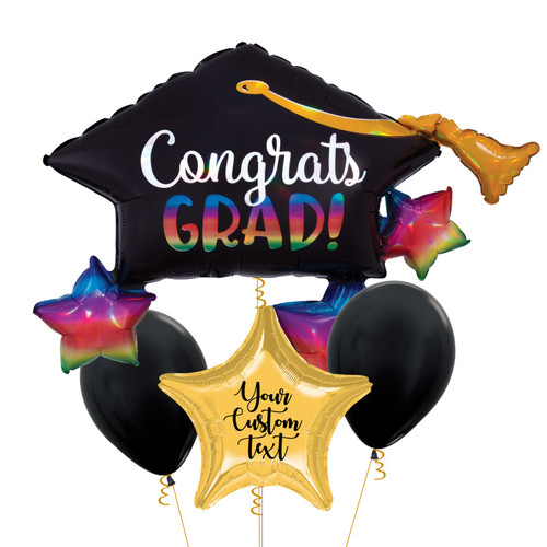 Personalised Iridescent Congrats Grad on Grad Cap & Stars Balloons Bouquet