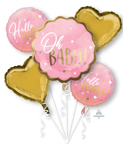 Pink Baby Girl Hello World Balloons Bouquet