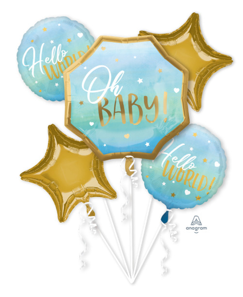 [Baby] Blue Baby Boy Hello World Balloons Bouquet
