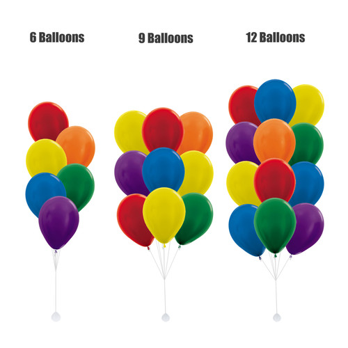 "12"" Vibrant Rainbow Latex Balloons Cluster - Metallic Color"