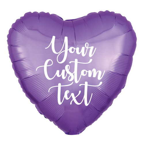 "18"" Personalised Heart Foil Balloon - Pearl Lavender"