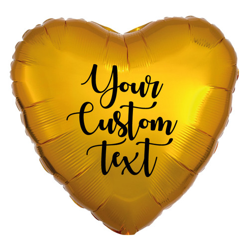 "18"" Personalised Heart Foil Balloon - Metallic Gold"
