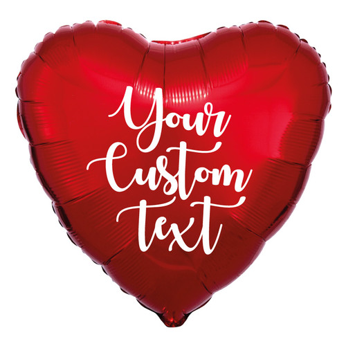"18"" Personalised Heart Foil Balloon - Metallic Red"