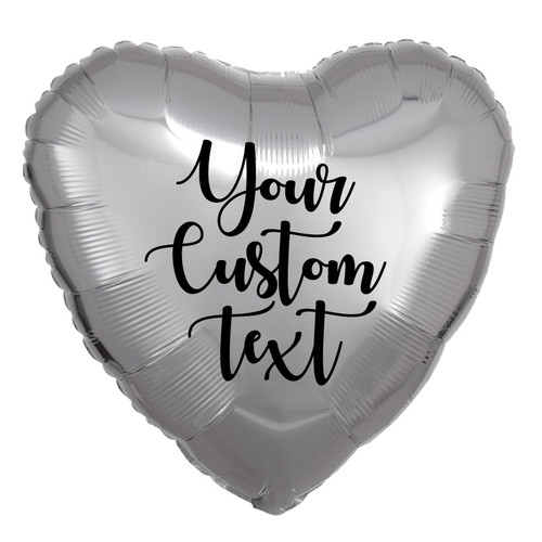 "18"" Personalised Heart Foil Balloon - Metallic Silver"
