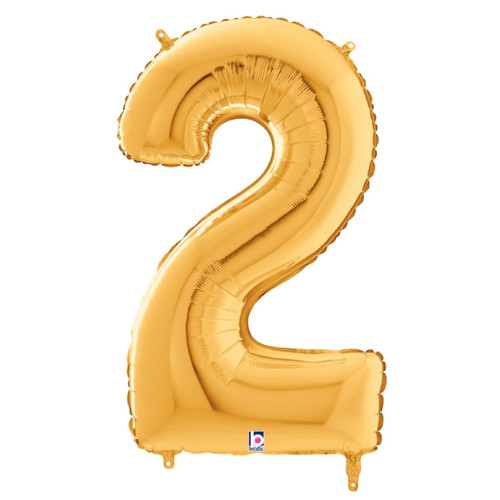 """40"""" Giant Number Foil Balloon (Gold) - Number '2'"""