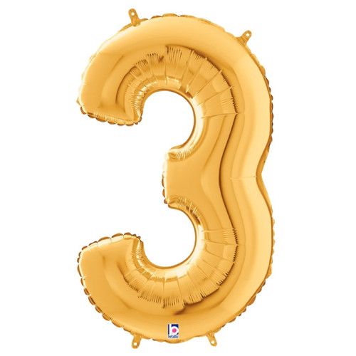"""40"""" Giant Number Foil Balloon (Gold) - Number '3'"""