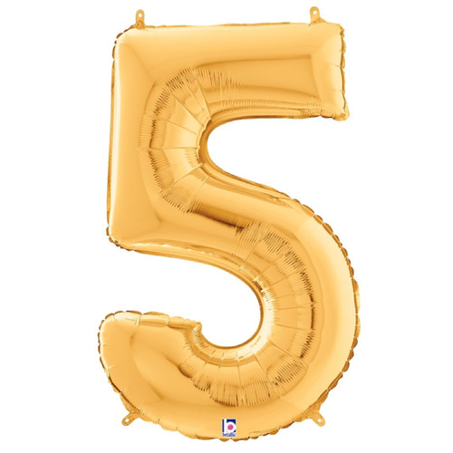 """40"""" Giant Number Foil Balloon (Gold) - Number '5'"""