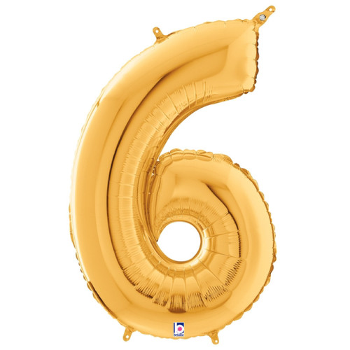 """40"""" Giant Number Foil Balloon (Gold) - Number '6'"""