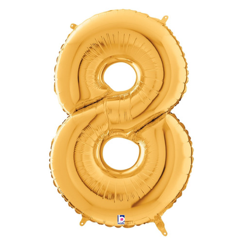 """40"""" Giant Number Foil Balloon (Gold) - Number '8'"""