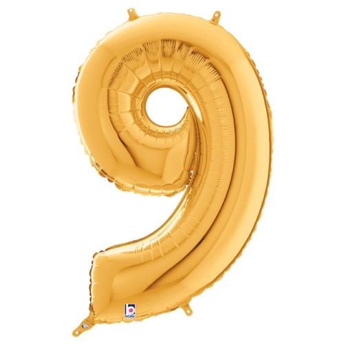 "40"" Giant Number Foil Balloon (Gold) - Number '9'"