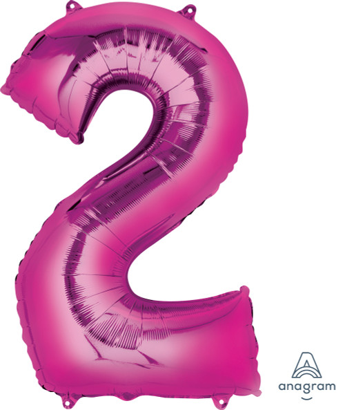 "34"" Giant Number Foil Balloon (Metallic Pink) - Number '2'"