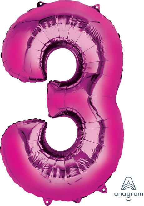 """34"""" Giant Number Foil Balloon (Metallic Pink) - Number '3'"""