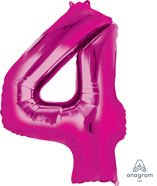 """34"""" Giant Number Foil Balloon (Metallic Pink) - Number '4'"""