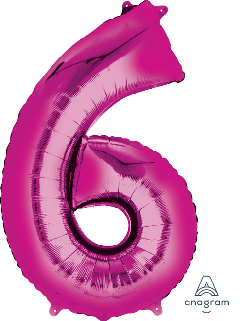 """34"""" Giant Number Foil Balloon (Metallic Pink) - Number '6'"""