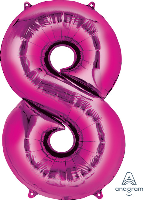 "34"" Giant Number Foil Balloon (Metallic Pink) - Number '8'"