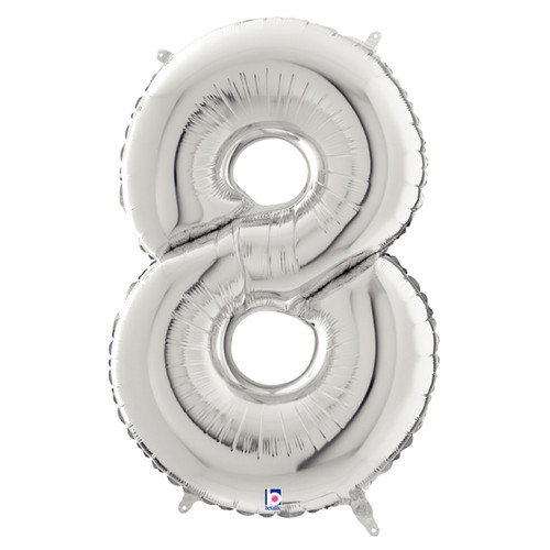 """40"""" Giant Number Foil Balloon (Silver) - Number '8'"""