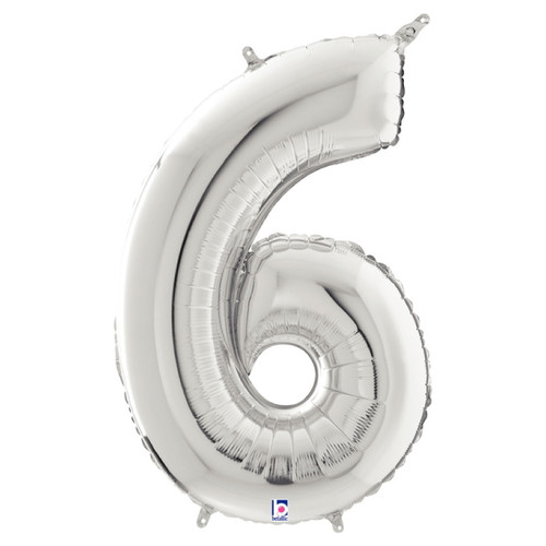 """40"""" Giant Number Foil Balloon (Silver) - Number '6'"""
