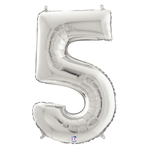 """40"""" Giant Number Foil Balloon (Silver) - Number '5'"""