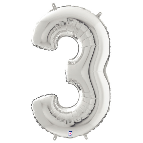 "40"" Giant Number Foil Balloon (Silver) - Number '3'"