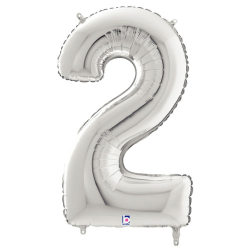 "40"" Giant Number Foil Balloon (Silver) - Number '2'"