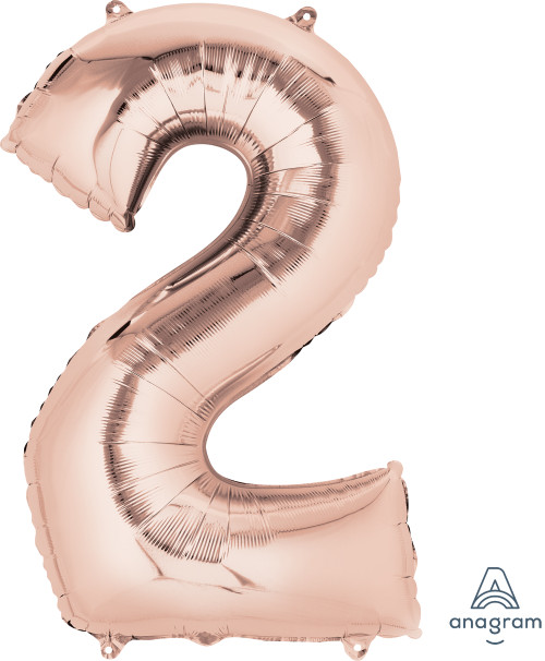 "34"" Giant Number Foil Balloon (Rose Gold) - Number '2'"