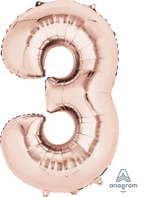 "34"" Giant Number Foil Balloon (Rose Gold) - Number '3'"
